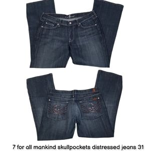 7 for all mankind skullpockets distressed jeans 31